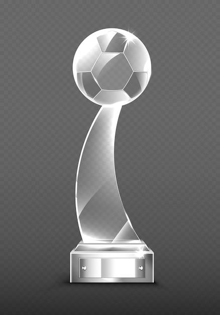 Realistische glazen trofee-prijzen voor voetbal Gratis Vector