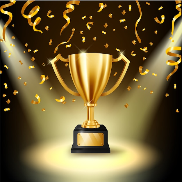 Realistische golden trophy verlichte schijnwerpers Premium Vector
