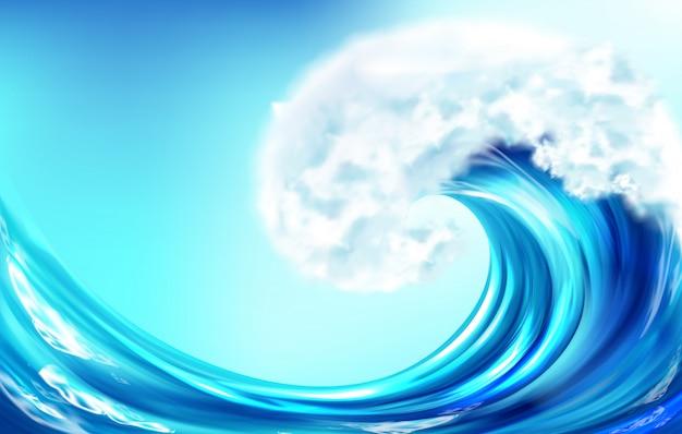 Realistische golf grote oceaan of zee curve water splash Gratis Vector
