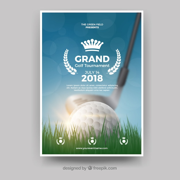 Realistische golf poster sjabloon Gratis Vector