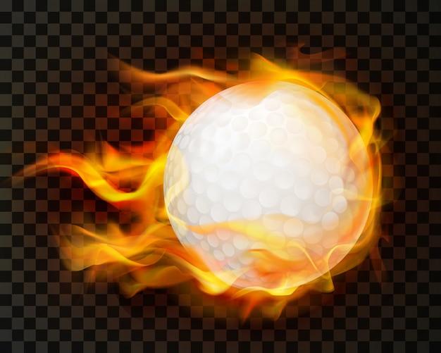 Realistische golfbal in brand Gratis Vector