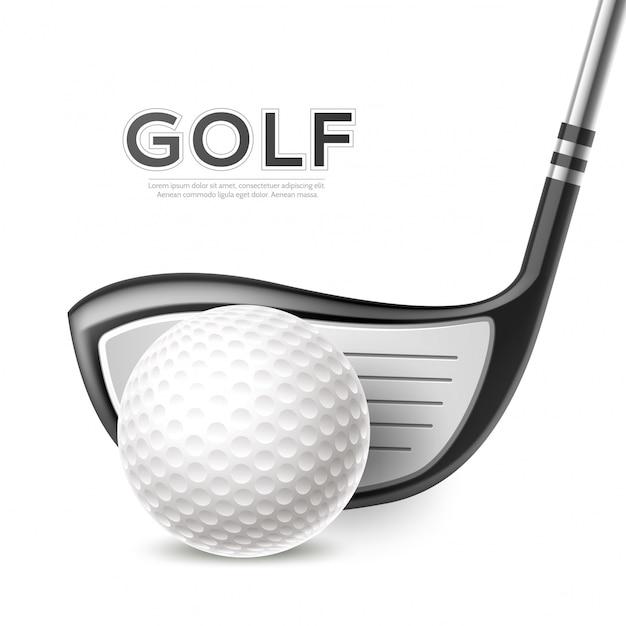 Realistische golftoernooi poster met golfclub en bal Premium Vector