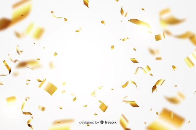 Realistische gouden confetti achtergrond Gratis Vector
