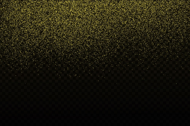 Realistische gouden confetti op de transparante achtergrond. concept van gelukkige verjaardag, feest en feestdagen. Premium Vector