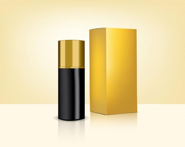 Realistische gouden cosmetica fles en doos voor huidverzorgingsproduct Premium Vector