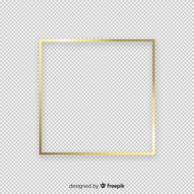Realistische gouden frame op transparante achtergrond Gratis Vector