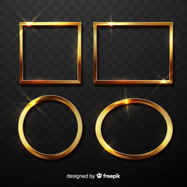 Realistische gouden frames instellen Gratis Vector