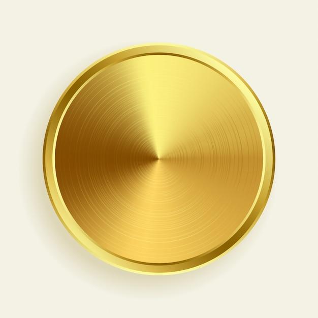 Realistische gouden metalen knop in geborstelde oppervlaktetextuur Gratis Vector