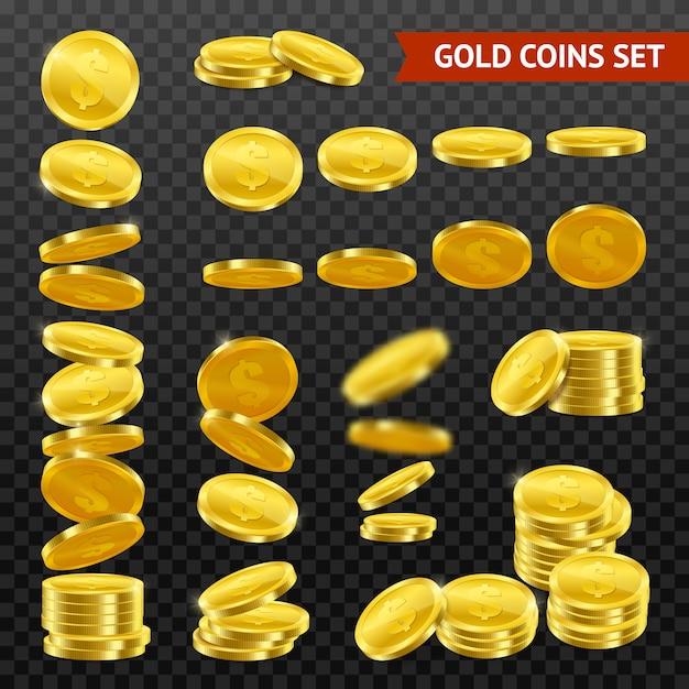 Realistische gouden munten darktransparent set Gratis Vector