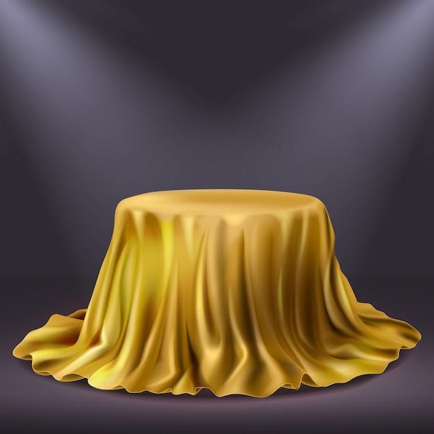 Realistische gouden showprestatiestof. gouden theatergordijn of koninklijke luxetafelkleed 3d vectorillustratie Gratis Vector