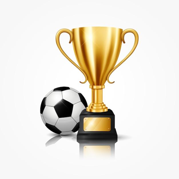 Realistische gouden trofee met voetbal Premium Vector