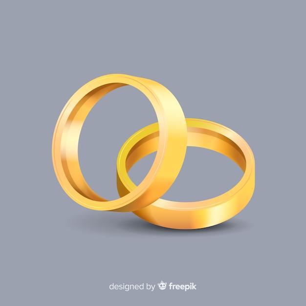 Realistische gouden trouwringen Gratis Vector