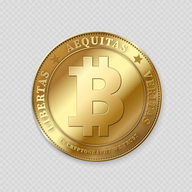 Realistische goudkleurige bitcoin op transparant Premium Vector