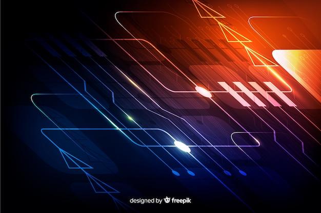 Realistische gradient printplaat backgrond Gratis Vector