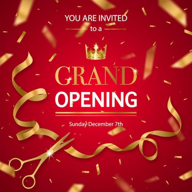 Realistische grand opening uitnodiging Gratis Vector