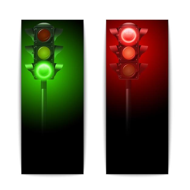 Realistische groene en rode verkeerslichten verticale geplaatste banners Gratis Vector
