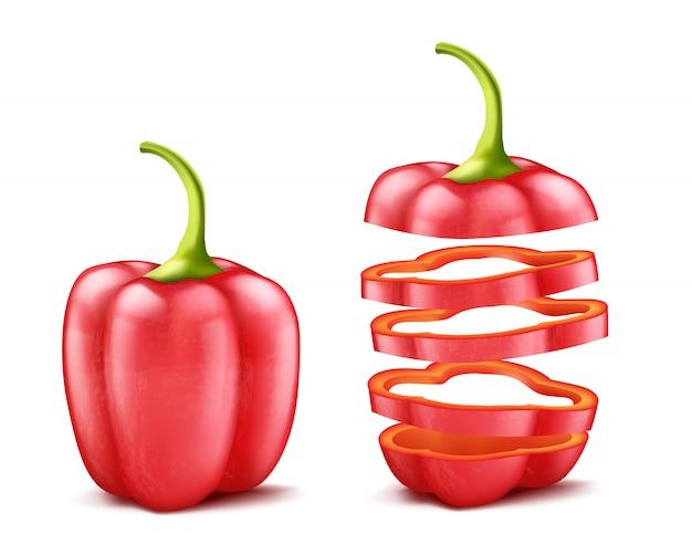 Realistische groene paprika of bulgaars, geheel en gesneden, geïsoleerd op achtergrond. Gratis Vector