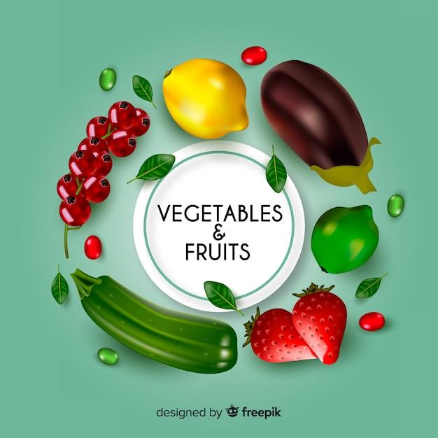 Realistische groenten en fruit achtergrond Gratis Vector