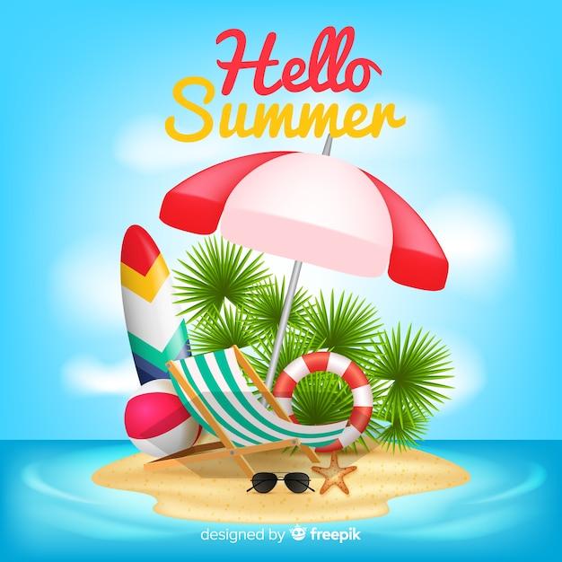 Realistische hallo zomer achtergrond Gratis Vector