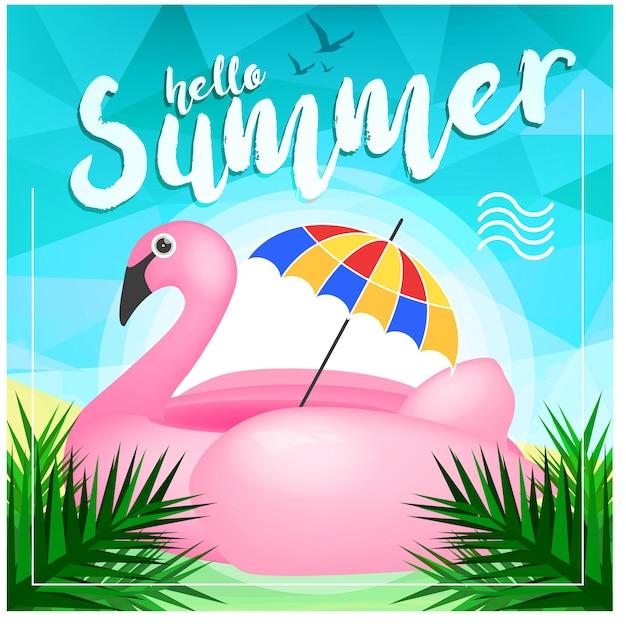 Realistische hallo zomer achtergrond Premium Vector