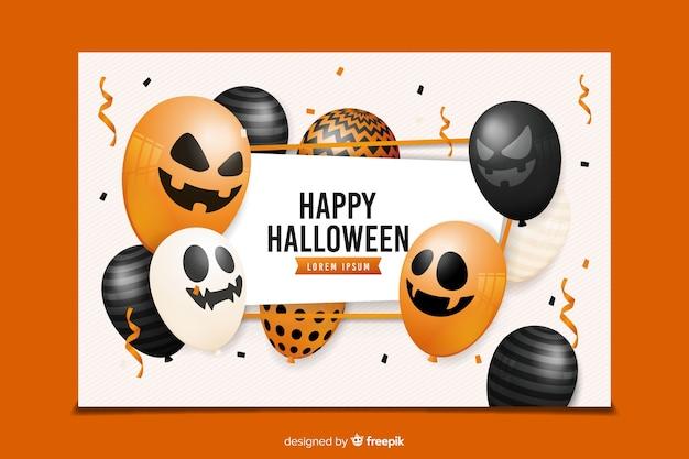 Realistische halloween banners met verschillende ballonnen Gratis Vector