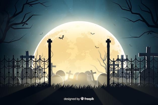 Realistische halloween-begraafplaatsachtergrond Gratis Vector
