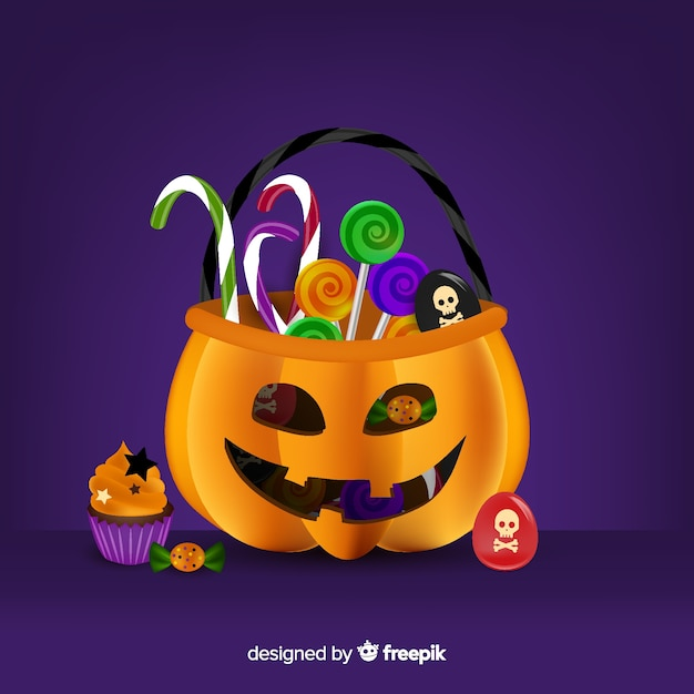Realistische halloween-pompoenzak Gratis Vector