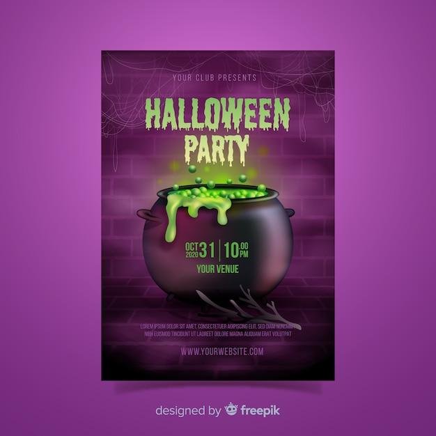 Realistische halloween smeltkroes sjabloon Gratis Vector