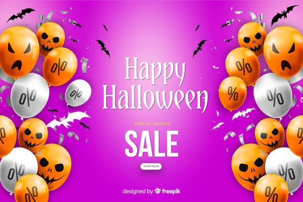 Realistische halloween-verkoopachtergrond met ballons Gratis Vector