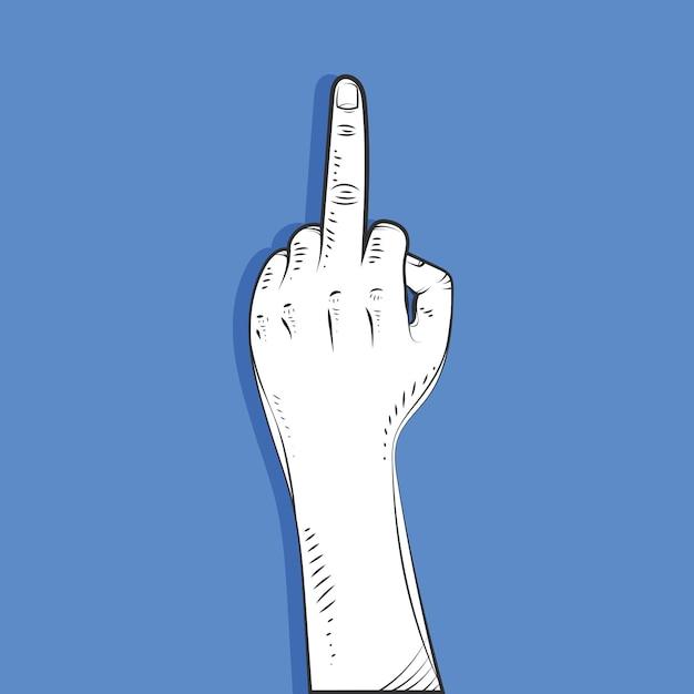 Realistische hand getekend fuck you-symbool Premium Vector