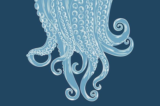 Realistische hand getekende octopus tentakels achtergrond Gratis Vector