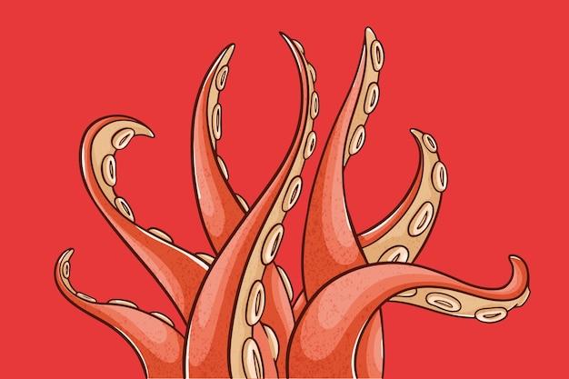 Realistische hand getekende octopus tentakels achtergrond Premium Vector