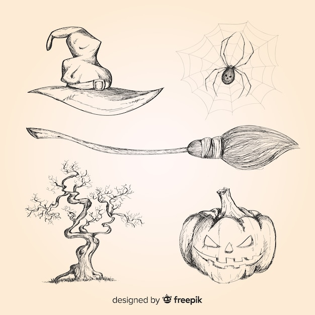 Realistische hand getrokken halloween-elementeninzameling Gratis Vector