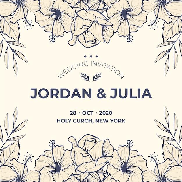 Realistische hand getrokken sjabloon bloemen bruiloft uitnodiging Gratis Vector