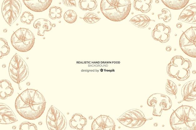 Realistische hand getrokken voedsel achtergrond Gratis Vector