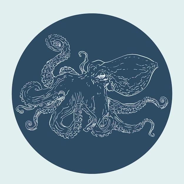 Realistische handgetekende octopus Premium Vector