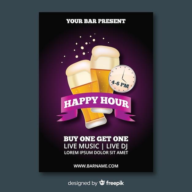 Realistische happy hour poster sjabloon Gratis Vector