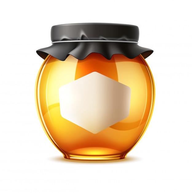 Realistische heerlijke honing en glazen pot met deksel Premium Vector