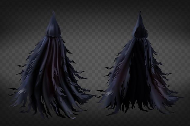 Realistische heks kostuum met capuchon, zwarte rafelige cape voor halloween-feest Gratis Vector