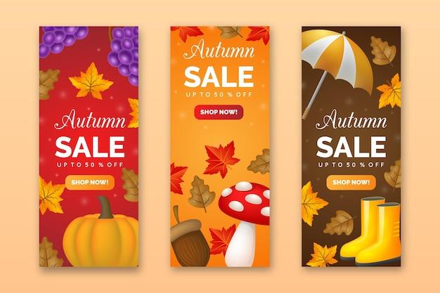 Realistische herfst verkoop banners Gratis Vector