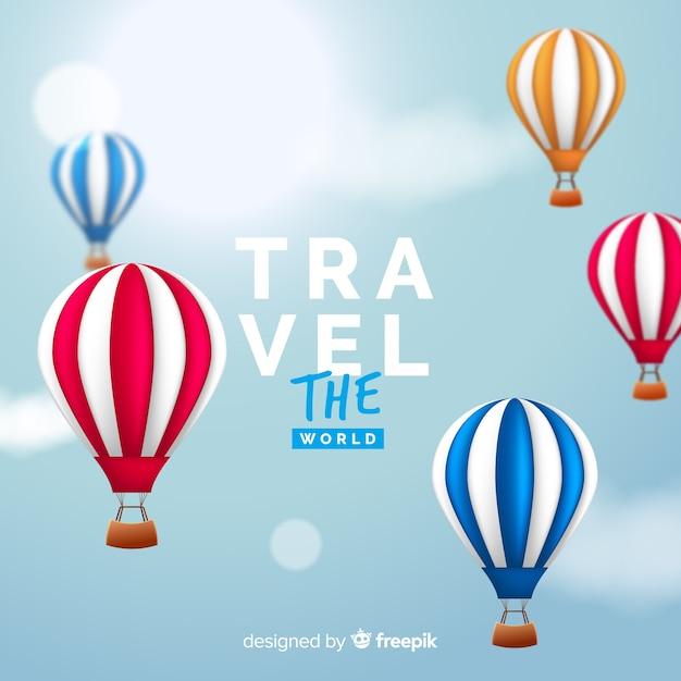 Realistische hete lucht ballonnen reizen achtergrond Gratis Vector