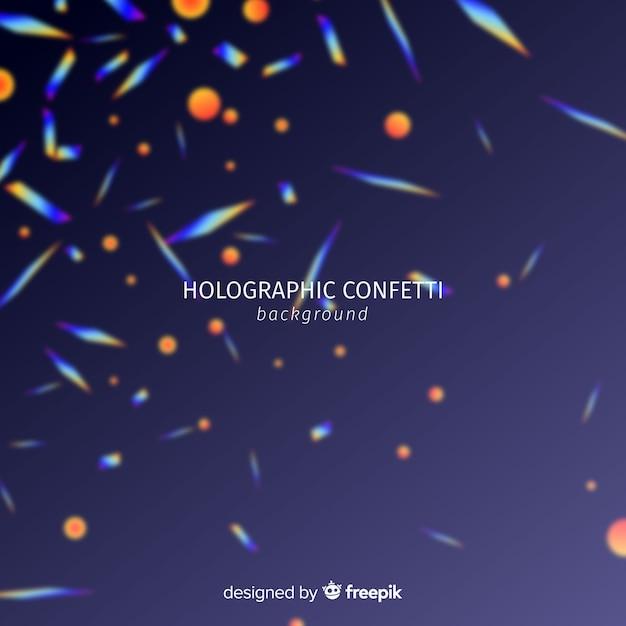 Realistische holografische confetti vallende achtergrond Gratis Vector