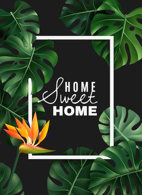 Realistische house plant frame Gratis Vector