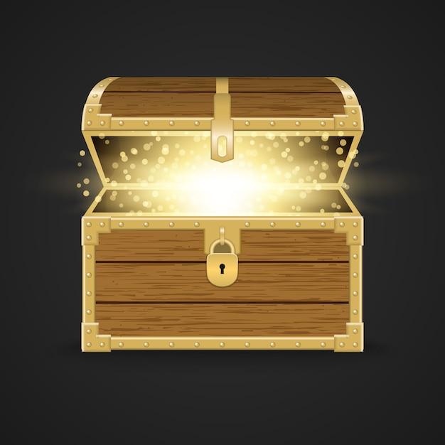Realistische houten kist geopend Premium Vector