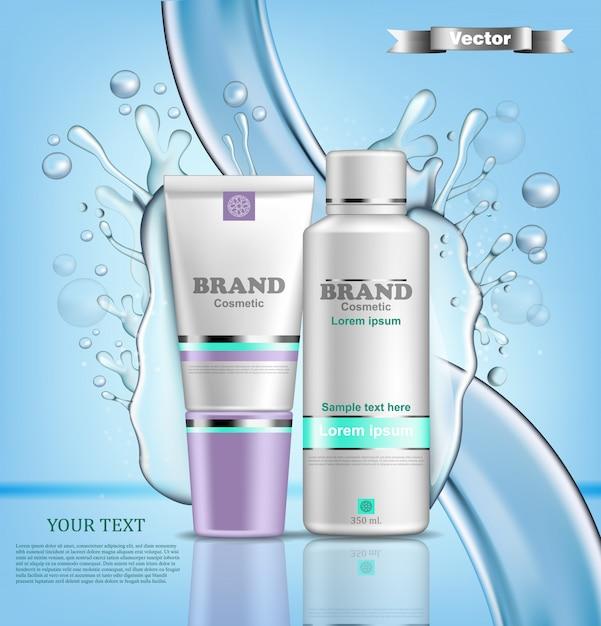 Realistische hydratatie water cosmetische verpakking mock up Premium Vector
