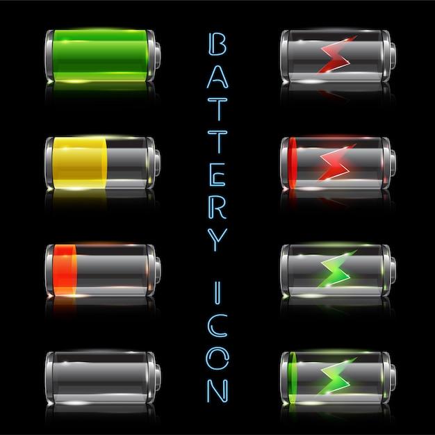 Realistische icon set van batterijniveau-indicatoren Premium Vector