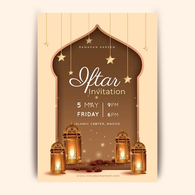 Realistische iftar-uitnodigingssjabloon Gratis Vector