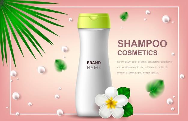 Realistische illustratie met shampoo, reclame of promotionele banner Premium Vector