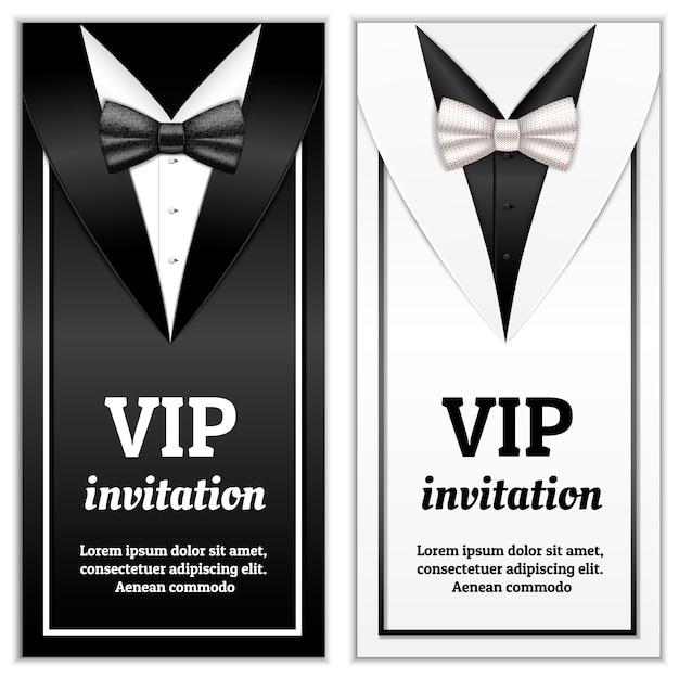 Realistische illustratie van elegante bowtie voor vip-uitnodigingssjabloon Premium Vector