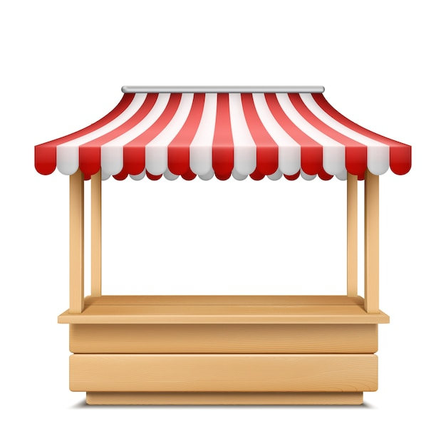 Realistische illustratie van lege marktkraam met rood en wit gestreepte luifel Gratis Vector